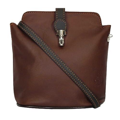 f65c7c13106d Genuine Italian Soft Leather Small Cross Body Handbag in Light Chocolate