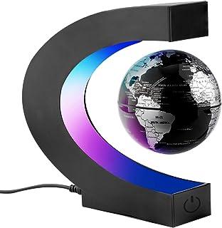 Surplex C-Form Magnetische Schweben Floaten Weltkarte Globus mit Led Display Stütze, Rotierende Erde Globus Kugel, Wohnkul...