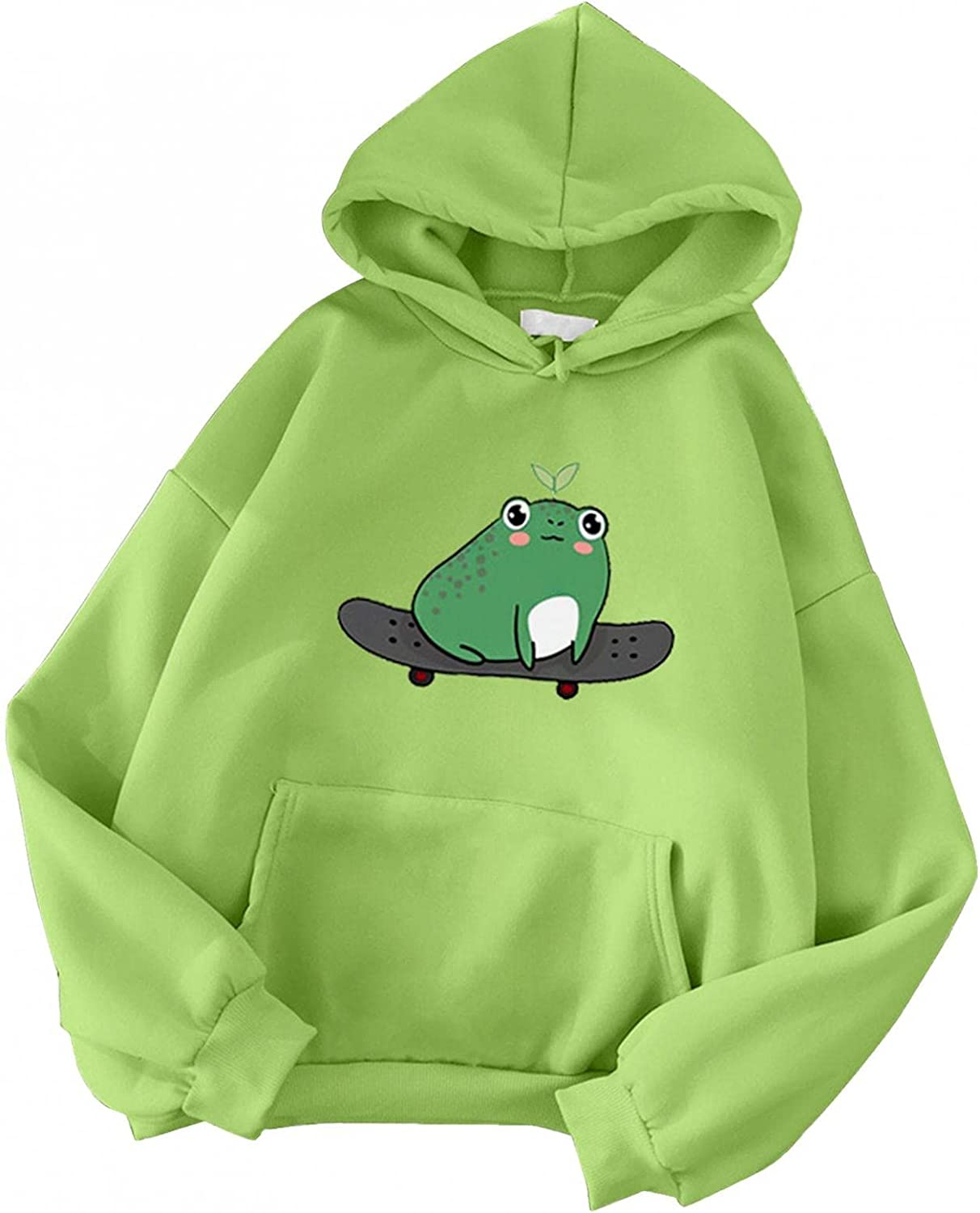 Haheyrte Hoodies for Womens Long Sleeve Skateboarding Frog Printed Hooded Casual Loose Sweatshirts Pullover Tops Shirts