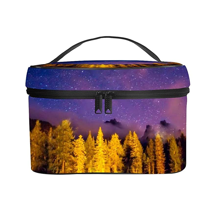 ポジション文明美徳メイクぼっくす PUレザー コスメボックス バニティポーチ 星空の下の湖 風景 化粧ボックス メイクブラシバッグ トラベルバッグ 人気 かわいい 大容量 機能的