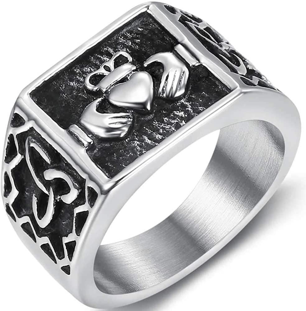Jude Jewelers Stainless Steel Retro Vintage Celtic Knot Claddagh Style Signet Promise Statement Ring