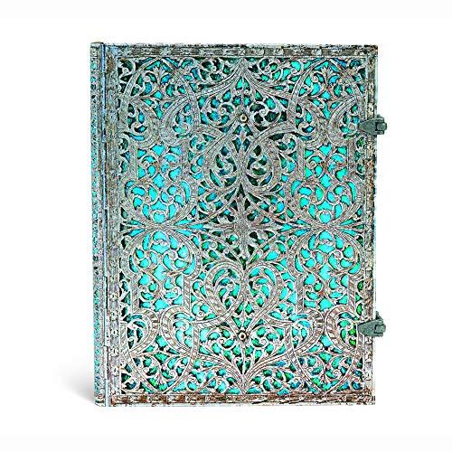 Paperblanks Notizbuch mit Lesebändchen & Innentasche | Maya Blau | Ultra (230 x 180 mm) | 240 Seiten | Liniert (Silver Filigree Collection)