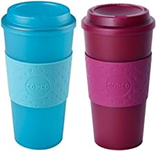 Copco Acadia Double Wall Insulated 16 oz Travel To Go Mug with Non-Slip Sleeve, Set of 2, Commuter Friendly, Drink On the Go (Translucent Teal/Translucent Marsala Red)