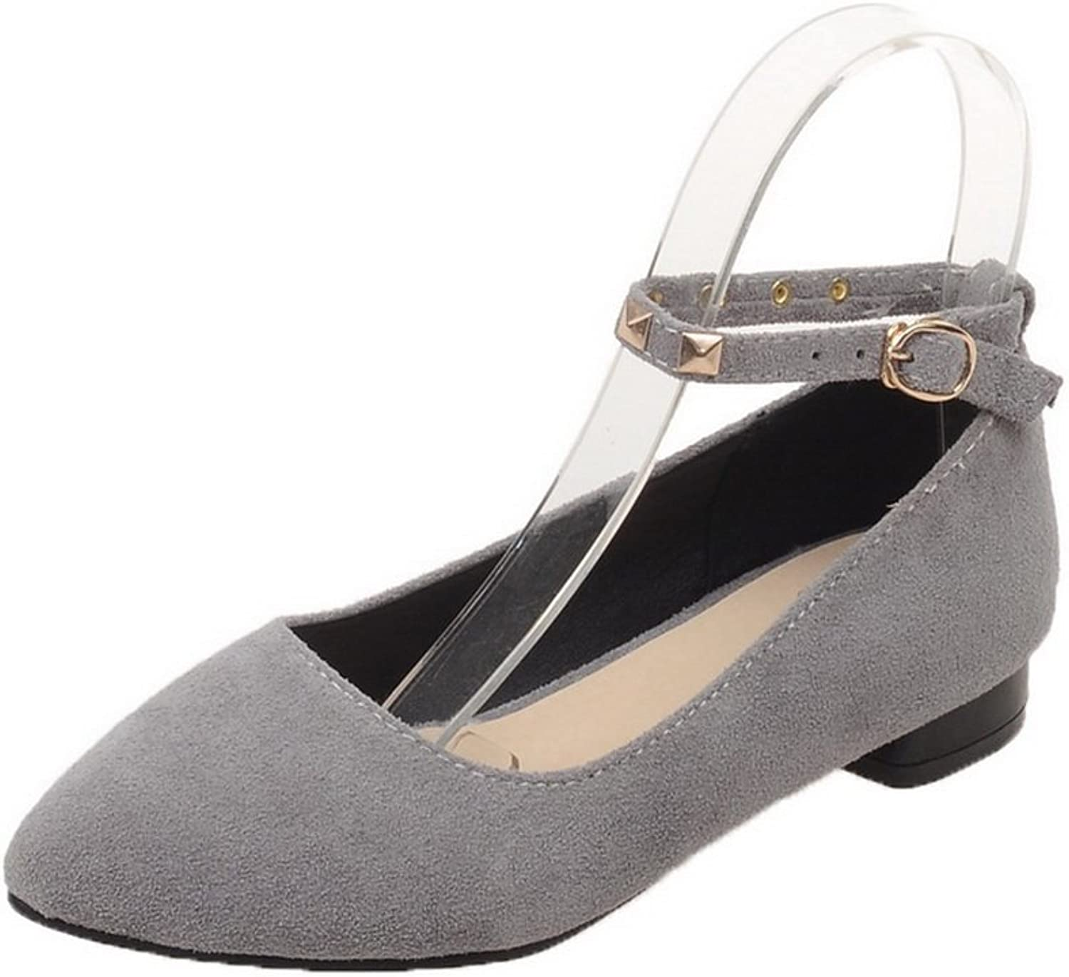 AllhqFashion Women's Low-Heels Frosted Solid Buckle Closed-Toe Pumps-shoes