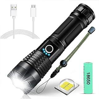 SunTop XHP50 Led-zaklamp, superhelder, 4000 lumen, USB-oplaadbaar, inclusief 18650 batterij, 5 modi, zoombaar, waterdicht,...