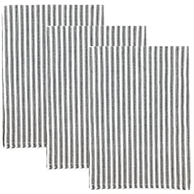 Ticking Stripe 100% Cotton Kitchen Towels, Set of 3 (Black)