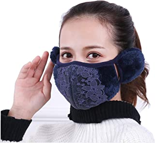 Fashion Women Girls Winter Warm Cloth Face Mouth Mask Adult Thicken Anti Dust Anti-fog Windproof Earmuff Mouth-muffle Safety Particle Respirator Filters Bacteria Protection (Dark blue)