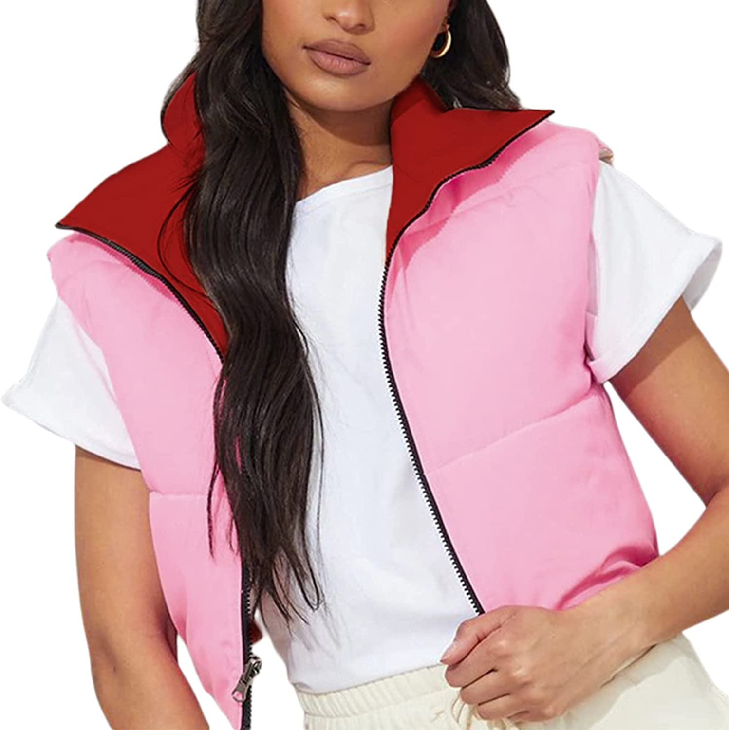 Women's Casual Lightweight Puffer Padded Vest Stand Collar Sleeveless Contrast Color Cropped Quilted Gilet Down Jacket