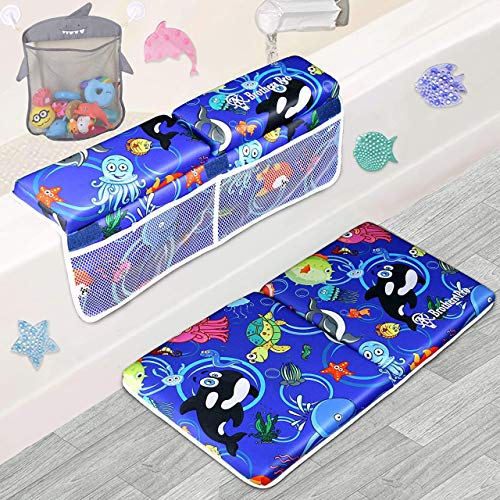 AK Brothers Bath Kneeler with Elbow Rest pad Set, Kneeling Mat with Three Extra Bonuses, Inflatable Spout Cover, Mesh Toys Organizer, 4 Colorful Decorative Tub Mats Toys in Tote Bag. Baby Shower Gift