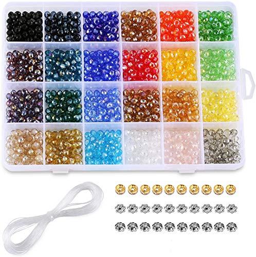 Perline di vetro cristallo 6mm, perle di vetro sfaccettato, perle di 24 colori AB con scatola per gioielli fai-da-te. (1200 pezzi)