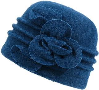 3e5e5d8d Dantiya Women's Winter Warm Wool Cloche Bucket Hat Slouch Wrinkled Beanie  Cap With Flower
