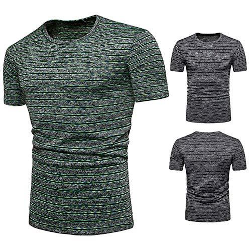 ARTFFEL Camisa de hombre con rayas Nano manga corta casual c