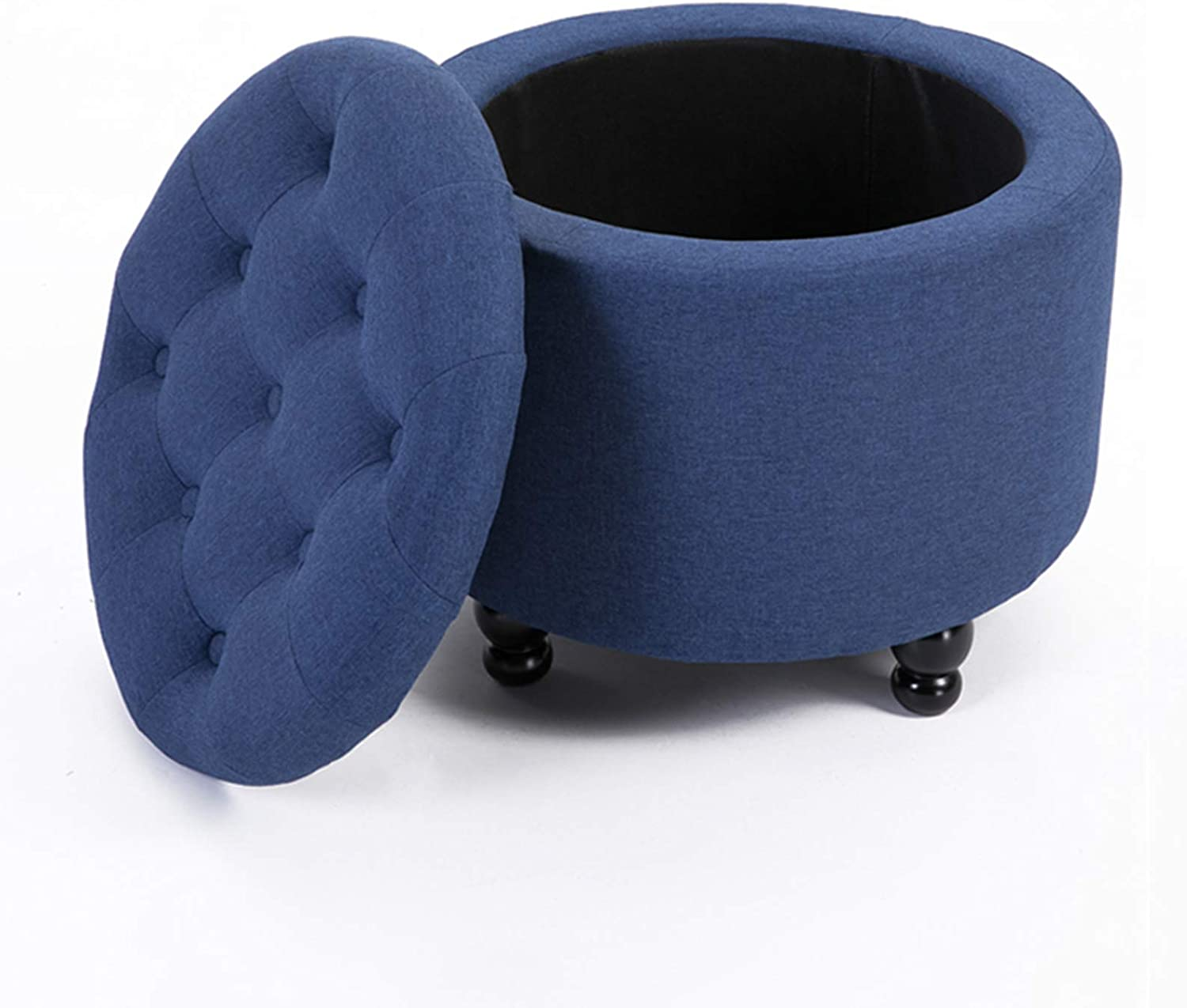 Round Storage Ottoman Complete Free Shipping Cotton Linen Foot Charlotte Mall Stool Rest Removab with