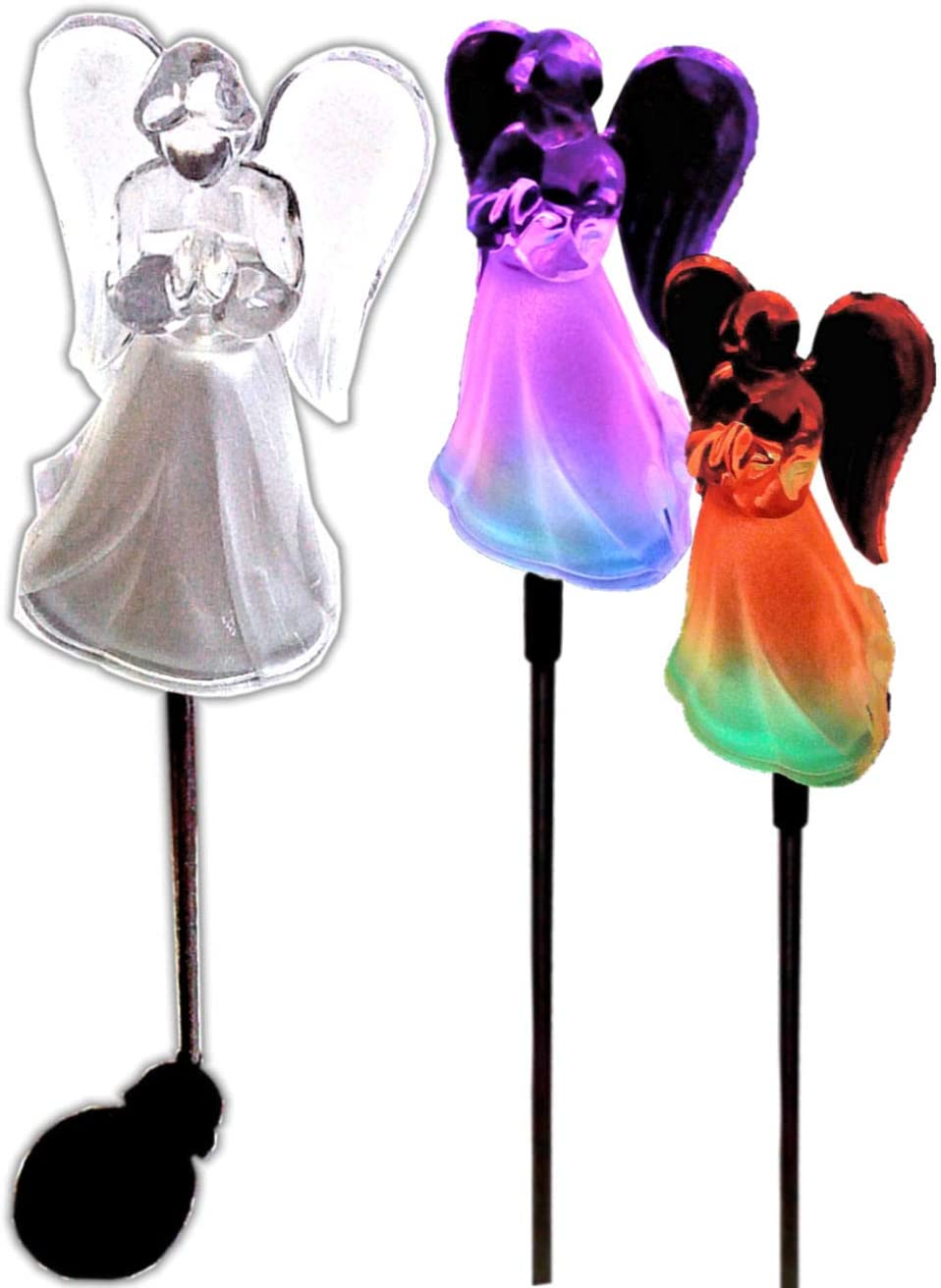 Omaha Mall Acrylic Max 52% OFF Solar Angel Lights with Frosted Sta Garden Skirt A
