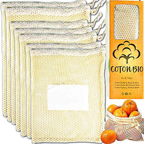 Engaged For Better ●Coton Bio● Sacs Réutilisable en Coton Bio Fruits Legumes, Sac de Courses...