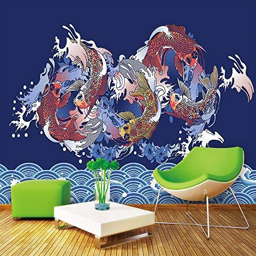 3D muurschildering behang, groot formaat moderne abstracte Chinese schilderij kleurrijke springen vis op de zee beeld 5D Print Zijden doek Art Decor voor muren woonkamer slaapkamer eetkamer kantoor 280cm(W) x 180cm(H) (9.19 x 5.91) ft
