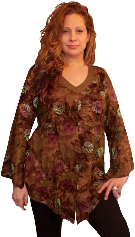 LOTUSTRADERS Shirt Blouse V Neckline Art Batik U854