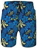 Rave on Friday Short Bain pour Homme Fleur Bleue Désign Été Fantaisie Hawaïen Plage Vacances Maillots Bain Pantalon avec Poche...