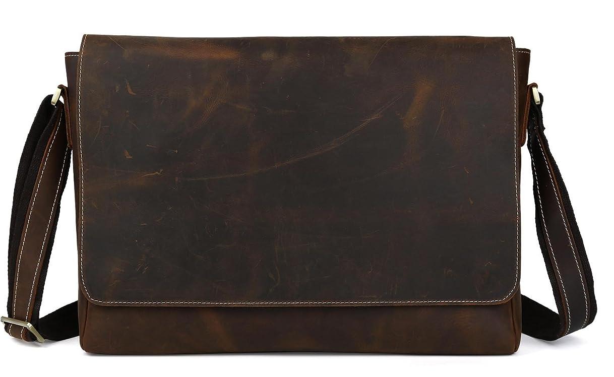 寄付お気に入りスペイン[(チョウギュウ) 潮牛] 本革 メンズ ショルダーバッグ 斜め掛け メッセンジャーバッグ 15PC B4対応 厚手牛革 レザー 大容量 ビンテージ風 自転車 通勤通学 旅行 鞄 ブラウン