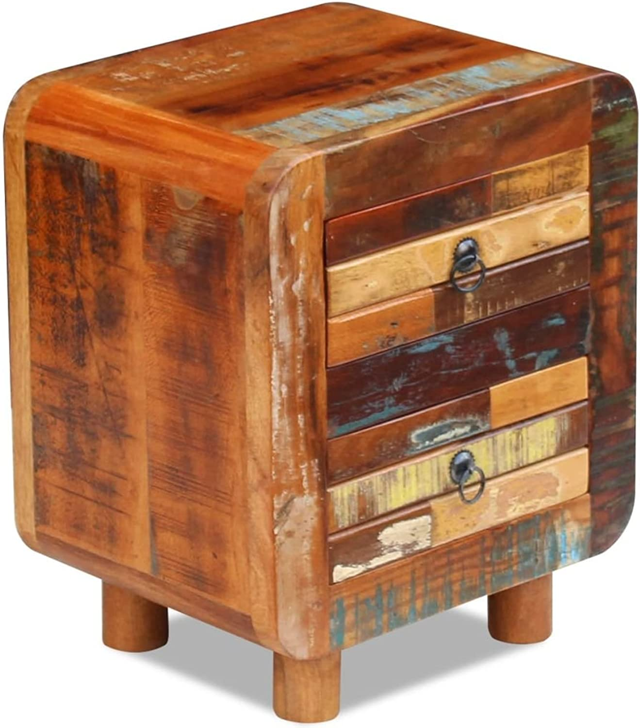Night Cabinet Bedside Table Table Lamp Stand Drawer Storage Furniture Vintage Solid Reclaimed Wood 17x13x20 inch