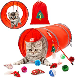 PUPTECK 12 pcs Christmas Interactive Cat Toys - Valuable Set of 2 Feather Mouse, 18.89 inch Long Cat Tunnel, 6 Ball Toy, 2 Catnip Fish Toys, Cat Stick