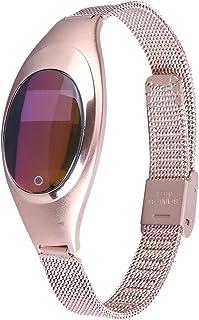 Aiwatch Mujer Metal presión Arterial medir la frecuencia cardíaca Pruebas Bluetooth Reloj Inteligente sincronización de Bandas para LG/iPhone/Samsung/HTC/Huawei Android y teléfono móvil iOS