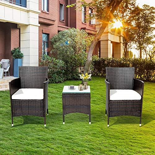 Set di mobili da balcone in rattan per 2 persone, 1 tavolo e 2 poltrone, resistente alle intemperie, per giardino (marrone)