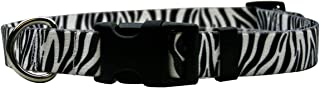"""Yellow Dog Design Zebra Black Dog Collar with Tag-A-Long ID Tag System-Medium-3/4"""" and fits Neck 14 to 20""""/4"""""""