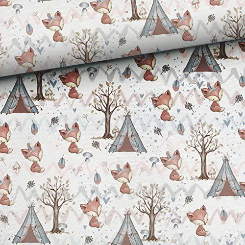 Herz Stoffe Österreich 50cm x 150cm Baumwollstoff mit süße Füchse - Waldfreunde Serie | 100% Baumwolle - 150g/m2 - ca. 150cm breit - Premium - Digitaldruck | Ökotex