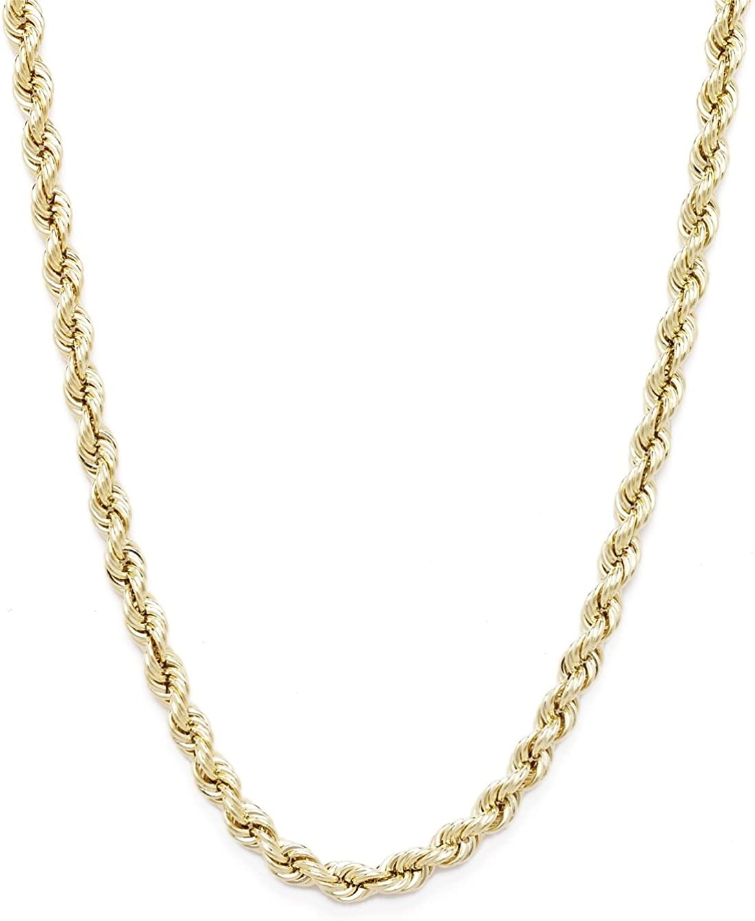 Floreo 10k Yellow Gold 2.5mm Hollow Rope Chain Necklace with Lobster Claw Clasp