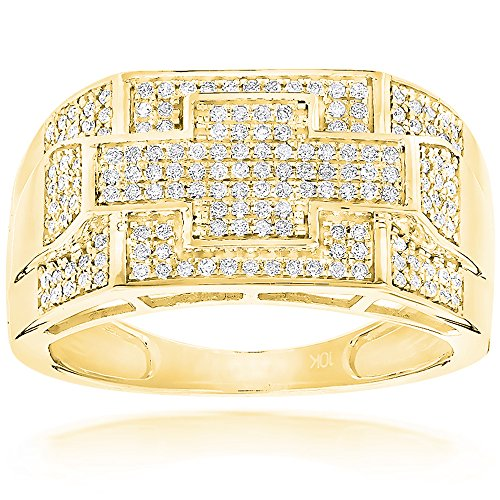 Luxurman Mens 10K Natural 0.5 Ctw Diamonds Pinky Ring Band For Him (Yellow Gold Size 9.5)