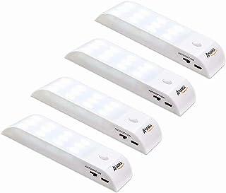 AMANKA Lámpara Nocturna Luces Led con Sensor de Movimiento 12LED Luz Recargable USB con 3 Modos Cinta Adhesiva Magnética Luz Inalambrica Cálida para Armario, Pasillo, Escalera, Garaje, Gabinete y Baño