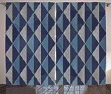 Cortinas geométricas Rombos y Puntos Composición de Formas abstractas Renacimiento Retro Sala de Estar Dormitorio Cortinas de Ventana Azul grisáceo