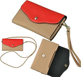 Wristlet Clutch 2 Compartment Wallet with Zipper Real Pouch for Card/Money Great for LG Fortune / X Power2 / Phoenix 3 / G6 / Aristo / Stylus 3 / Stylo 3 / K Series K3/K4/K8/K10/K20 V (Red/Tan)