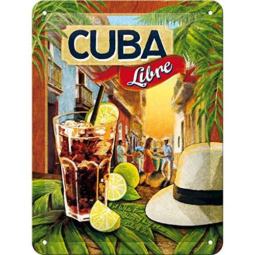 Nostalgic Art Open Bar – Cuba Libre – Geschenk-Idee für Cocktail-Fans Blechschild 15x20 cm, aus Metall, Bunt, 15 x 20 cm