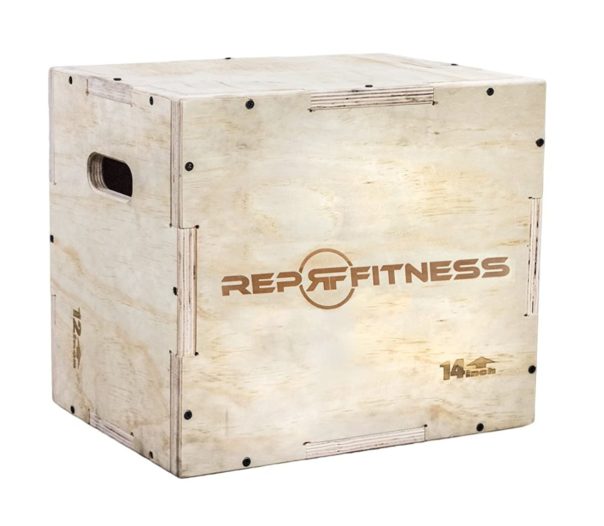 Rep Fitness 3 in 1 Wood Plyometric Box for Jump Training and Conditioning 30/24/20, 24/20/16, 20/18/16, 16/14/12