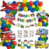 58 Pezzi Decorazioni di Compleanno Festa, Palloncini Compleanno per Bambini, Veicoli Trasporto Tema Aereo Treno Auto della Polizia Scuolabus Yacht Camion dei Cake Toppers per Ragazzo Compleanno