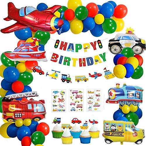 60 Piezas Cumpleaños Decoraciones Partido, Globos Cumpleaños de Niños, Transporte Tema Avión Tren Coche de policía Autobús Escolar Yate Camión de Bomberos Primeros de la Torta para Niño Cumpleaños