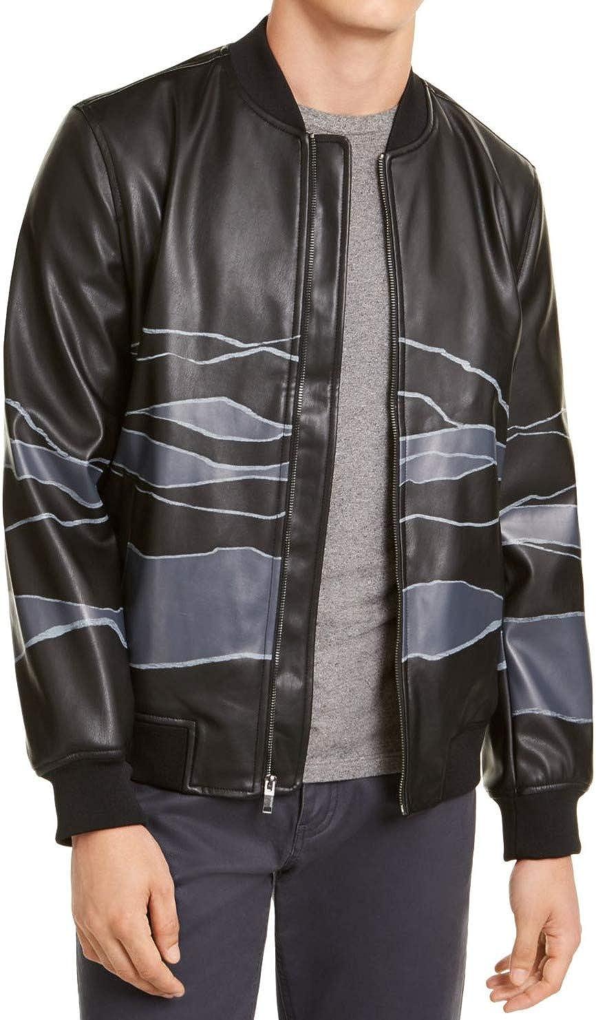 ALFANI Mens Black Color Block Bomber Faux Leather Jacket M