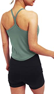 Bestisun Women's Basic Solid Camisole Spaghetti Strap Tank Top Y Back Sports Shirts with Built in Bra
