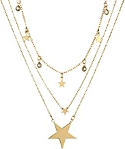 Aooaz Women's Necklace Gold Plated Base Chain Necklace Star Shape 3 Layer Necklace Pendant Necklace Gold Wrap Vintage Style