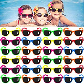 Kids Sunglasses Party Favors 24Pack Neon Sunglasses for Kids,Boys and Girls Great Gift for Birthday Party Supplies Beach Pool Party Favors Fun Gift Party Toys Goody Bag Favors - 80's Party Accessories