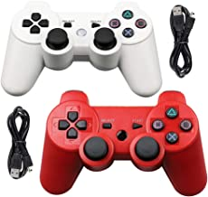 Tidoom PS3 Controller 2 Pack Wireless Bluetooth 6-Axis Gamepad Controllers Compatible for Playstation 3 Dualshock 3 Red + White