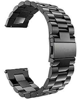 Sport Band Compatible with Gear S3 Frontier/Classic Galaxy Watch 46mm Smart Watch, 22mm Stainless Steel Bracelet Replacement Strap Samsung Gear S3 Frontier Classic (S3 Black)