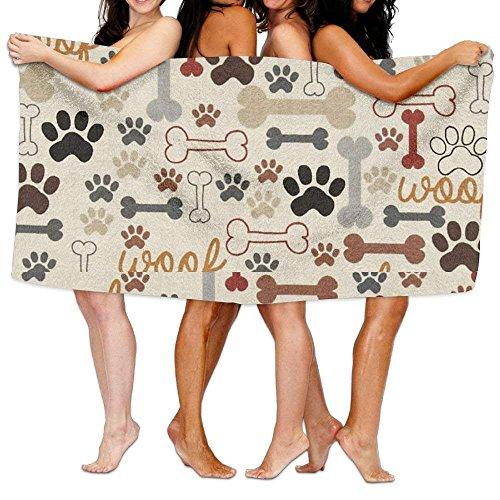 LOPEZ KENT Dog Bones & Paw Prints Crème Badhanddoek Volwassen Microvezel Handdoek 31 X 51 Inch Badlaken