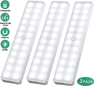 24 LED USB Recargable magnético Movimiento Sensor Luces nocturnas,oscuridad a amanecer Célula fotoeléctrica incluido Auto en/apagado Portátil Sin cable, palo en cualquier sitio para Armario