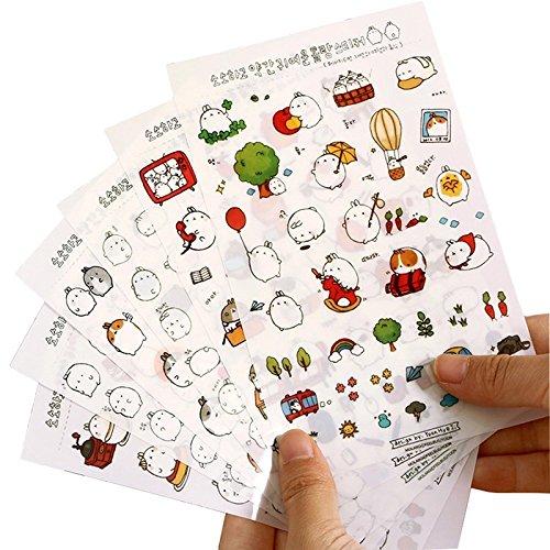 Fablcrew Niedlich Kleiner Hase Aufkleber Sticker Set Kinder DIY für Scrapbooking Diary Zeitplan Notizbuch Foto Album 6Blatt
