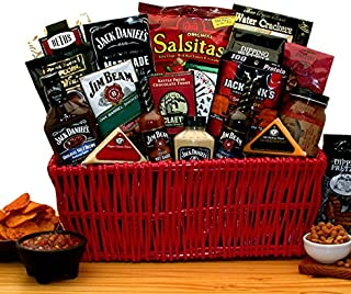 Premium BBQ Gift - Jim Beam & Jack Daniels Gourmet Grilling Gift Basket -Great Holiday, Birthday, or Father's Day Gift Idea