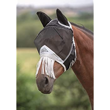 TGW RIDING Horse Fly Mask Full Face Mesh Fly Mask Fine Mesh with Ears and Long Nose