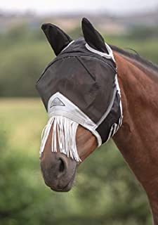 Shires Fine Mesh Horse Equine Fly Mask with Ears and Nose Fringe 60% UV Protection